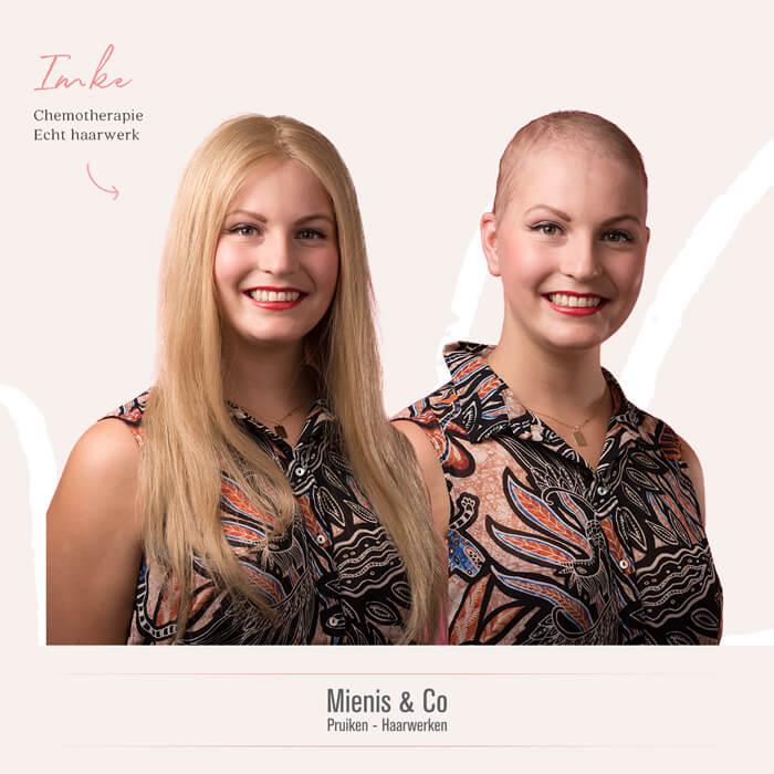 lang blond echthaar haarwerk, haarverlies, eierstokkanker, pruik, pruiken, chemo, chemotherapie, kaal door chemo, lange pruik